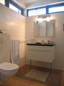 Foto van de badkamer met wasmachine in bungalow PrimaPlek te Bladel