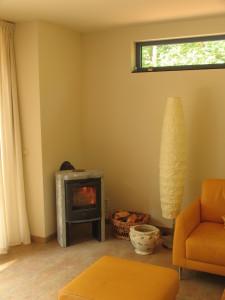 Foto van de houtkachel in het vakantiehuisje Primaplek in Bladel